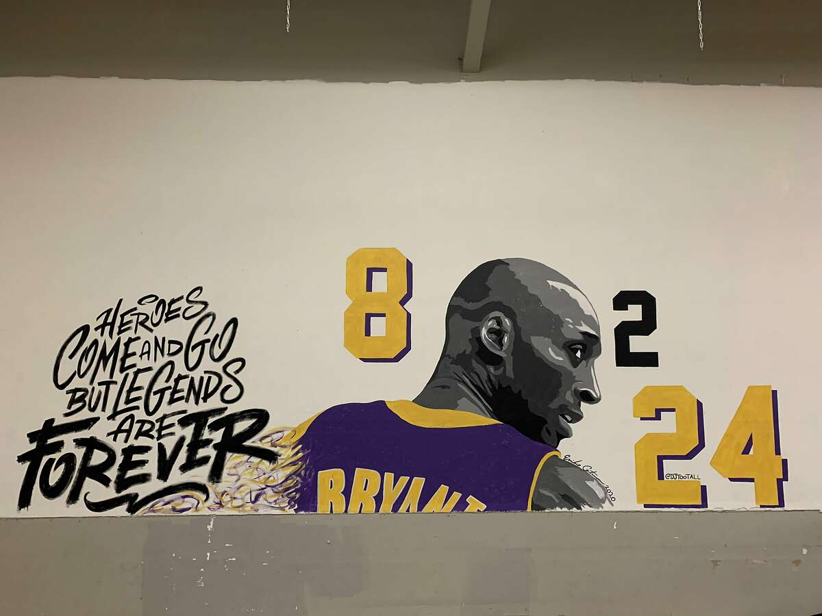 Emilio Cortez, a visual artist and DJ from San Jose, painted a mural of Kobe Bryant at the at Team Elite Basketball, a youth basketball facility, after the tragic death of the former Laker, his 13-year-old daughter Gianna and seven others.