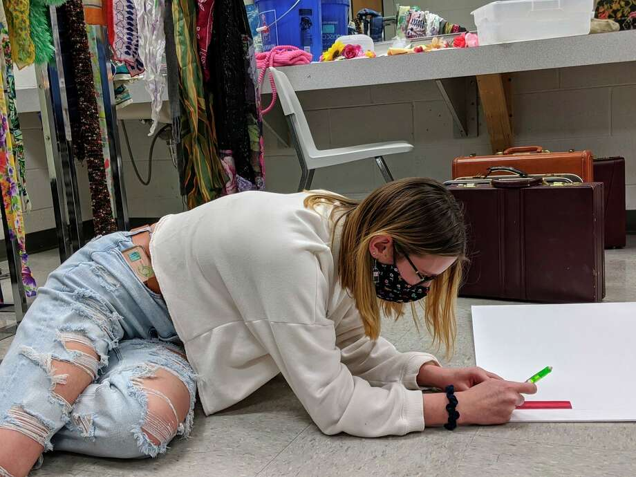 Allyson Macias, a student technician, is shown designing props and costumes for BRHS' upcoming winter production. The show will be streamed Feb. 12 and 13. (Courtesy photo)