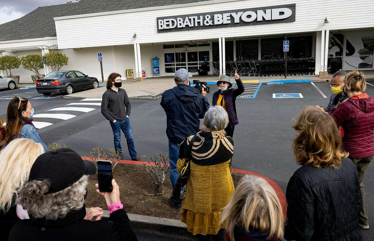 Organizer Melanie Morgan from Marin County talks to the protesters in the parking lot of Bed Bath and Beyond after the protest. The protest has to do with BB&B taking My Pillow products off of shelves in Larkspur, Calif. on January 26th, 2021