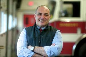 Kevin Ford is the new interim Fire Chief for the City of Danbury. Food was a career firefighter from Yonkers, NY that will serve for six months while the city searches for a new chief. Tuesday, January 26, 2021, at the Fire Department head quarters in Danbury, Conn.