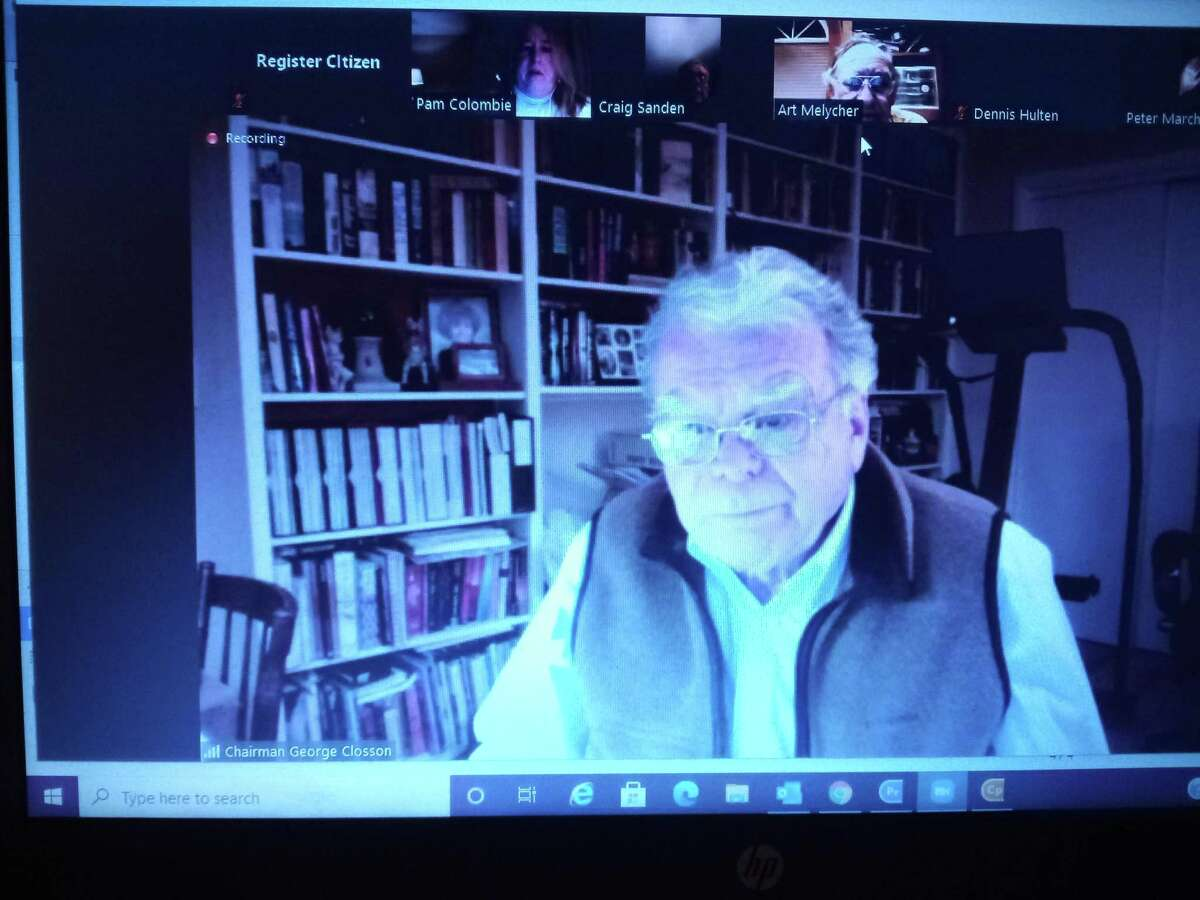 Winsted's Planning & Zoning Commission held a public hearing Jan. 25 on ECAD's proposed expansion project. Above, chairman George Closson listens during the meeting on Zoom.