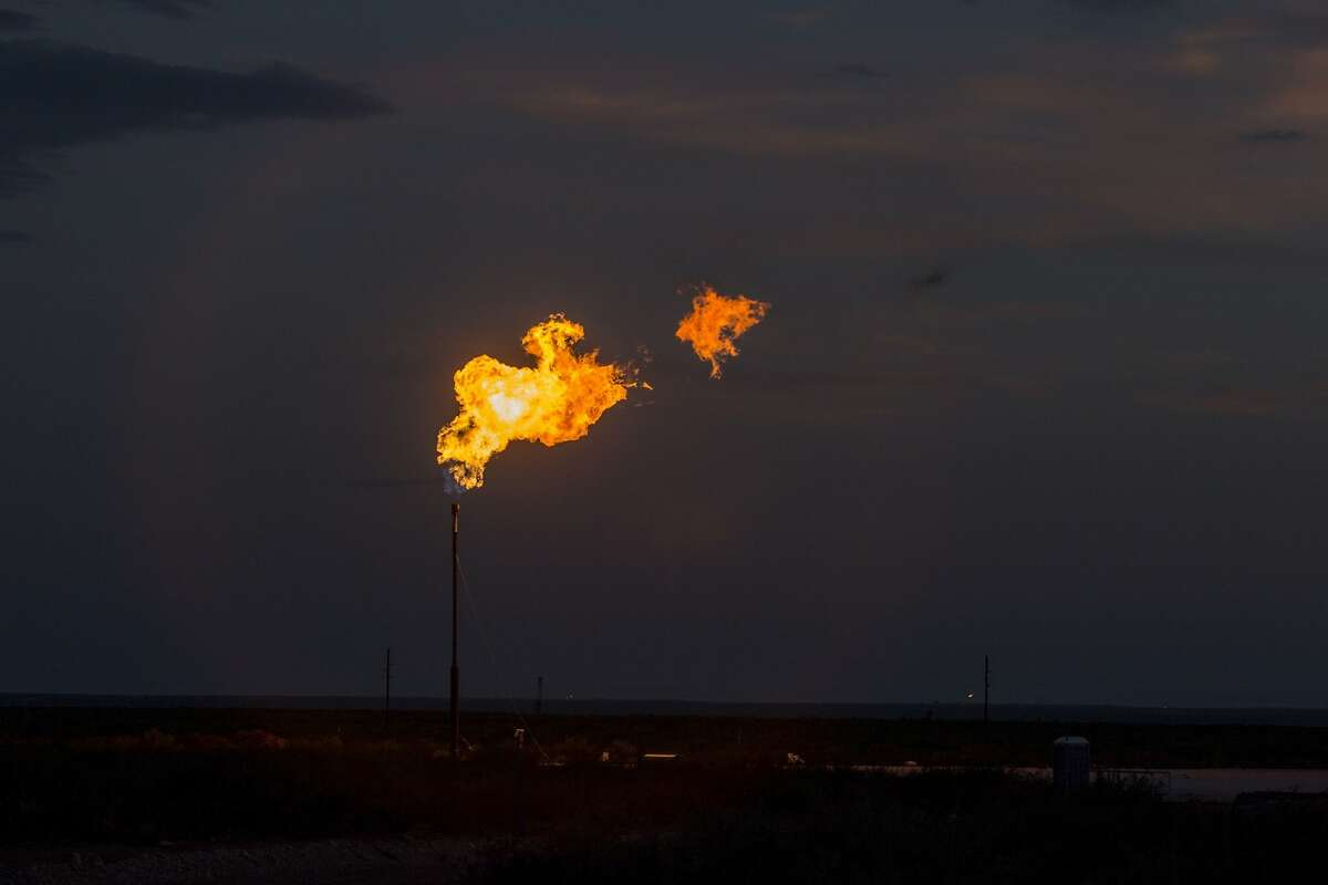 Flaring is seen near Mentone in this file photo. A report from Texans for Natural Gas found methane emissions in the Permian fell about 77 percent from 2011 to 2019.
