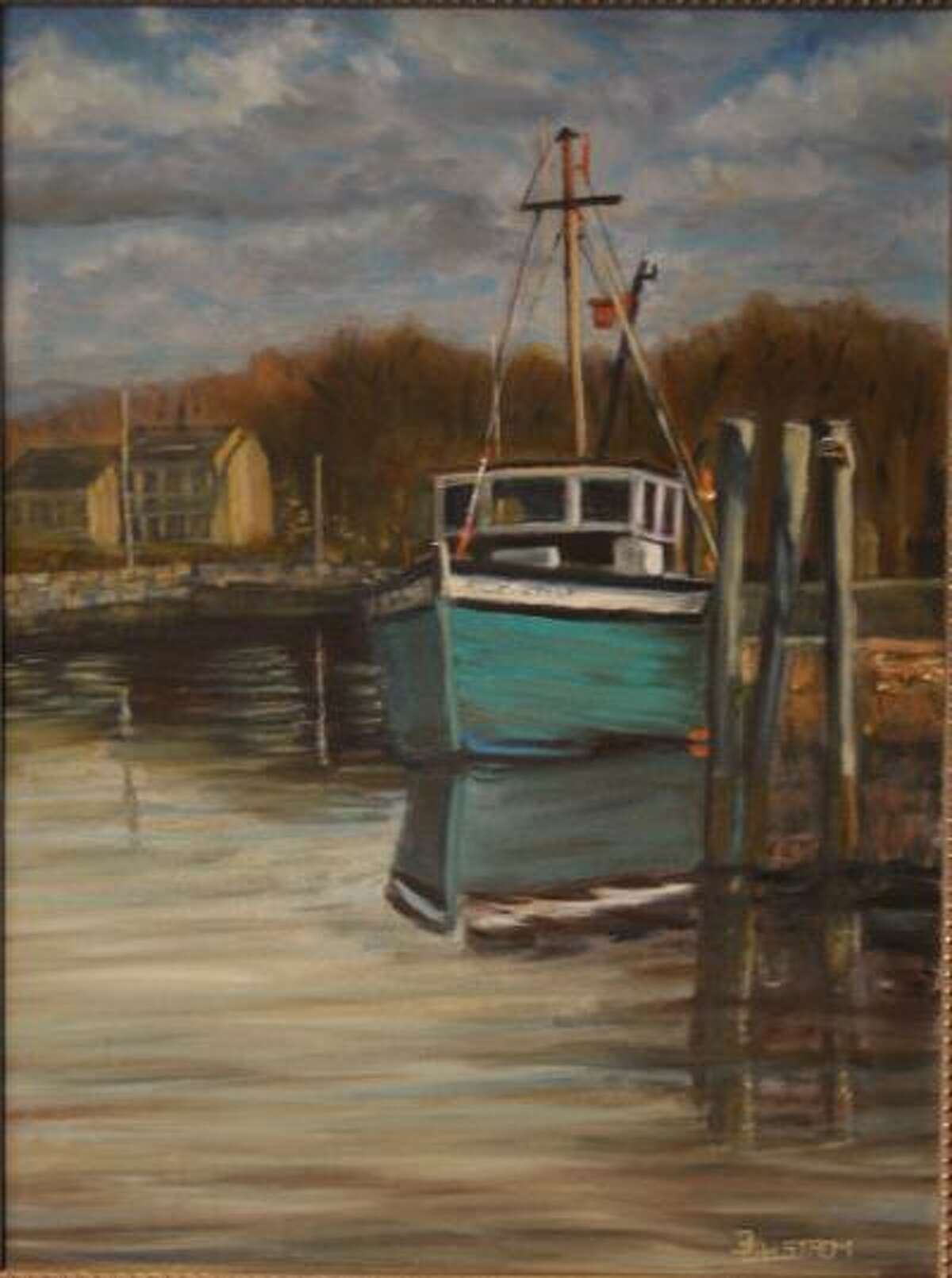 The Winter Show of all new works by 27 local artists opens at Earth and Fire Art Studio Jan. 30. Above, Reflections of Green Boat, Dan Dahlstrom, oil.