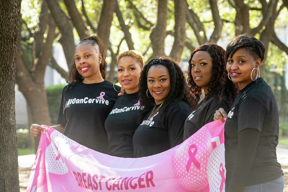 Top: Franz Battle, from left, Chivon Jones, DaNetra Brantley, LaTasha Ford and Sherese Guy are all breast cancer survivors. Above: xxxxxx