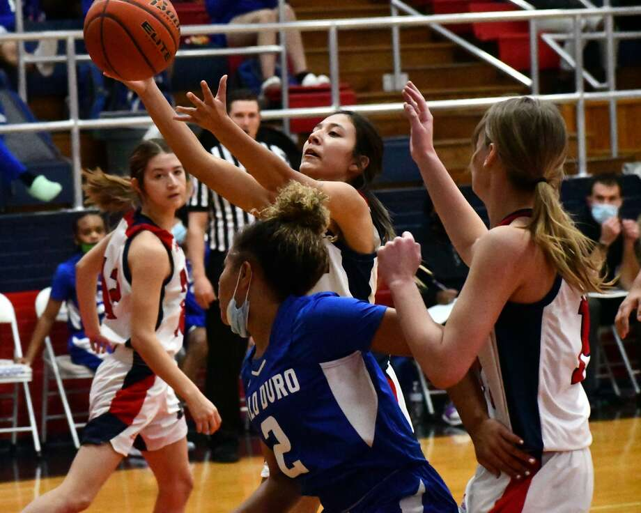 Plainview's Daniela Guzman comes up with a rebound during the 21st-ranked Lady Bulldogs' 54-47 overtime loss to Amarillo Palo Duro on Tuesday night in the Dog House at Plainview High School. Photo: Nathan Giese/Planview Herald