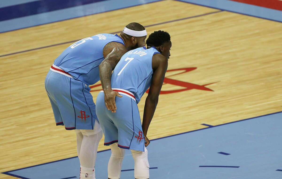 DeMarcus Cousins, left, and Victor Oladipo will not play in the Rockets' home game Monday against the Bulls.
