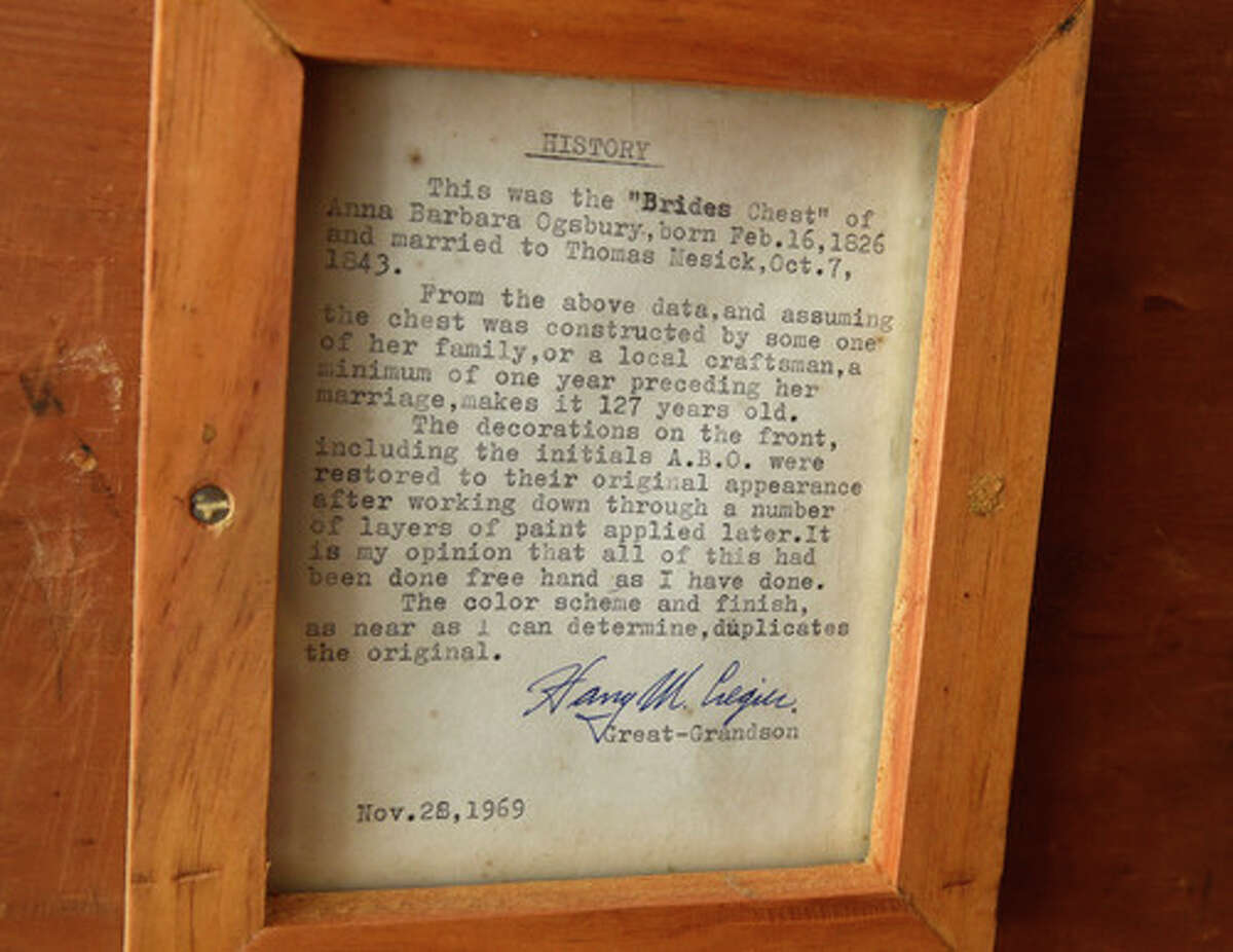 A typed note in a bride chest is seen in the garage of the circa-1909 Sears kit house developer Joel Bisaillon is renovating on Wednesday, Jan. 20, 2021 in Niskayuna, N.Y. (Lori Van Buren/Times Union)