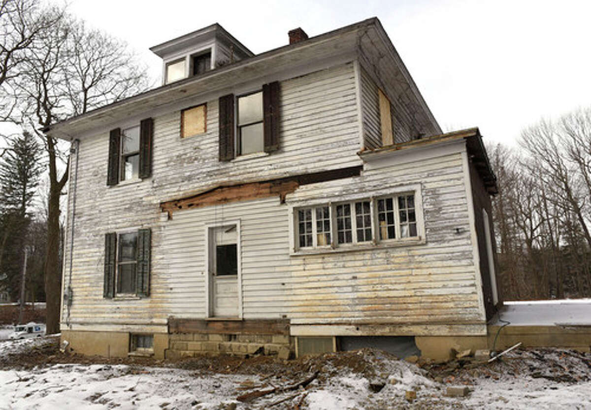 Exterior of the circa-1909 Sears kit house developer Joel Bisaillon is renovating on Wednesday, Jan. 20, 2021 in Niskayuna, N.Y. (Lori Van Buren/Times Union)