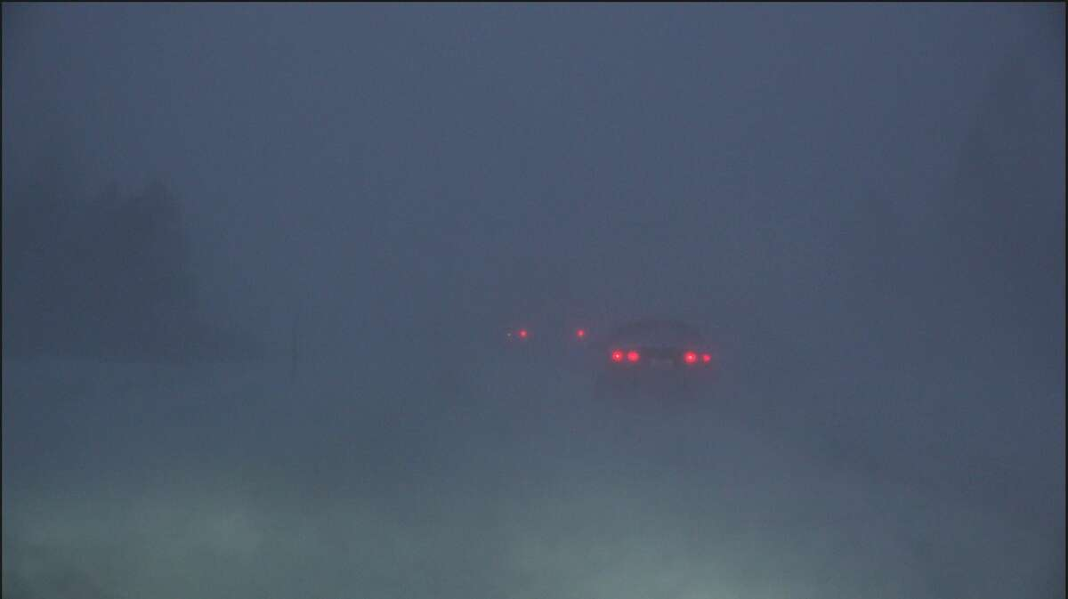 Whiteout conditions on I-5 near Weed, Calif., on Jan. 26, 2021