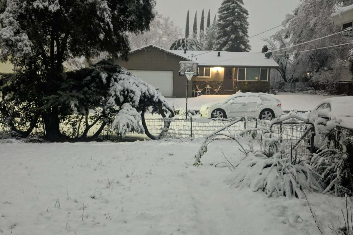 Redding, Calif., received several inches of snow on Jan. 26, 2021, when an atmospheric river swept Northern California.