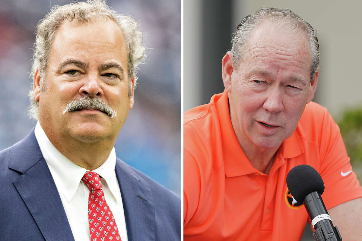 Texans CEO Cal McNair and Astros owner Jim Crane are pictured together in this composite photo.