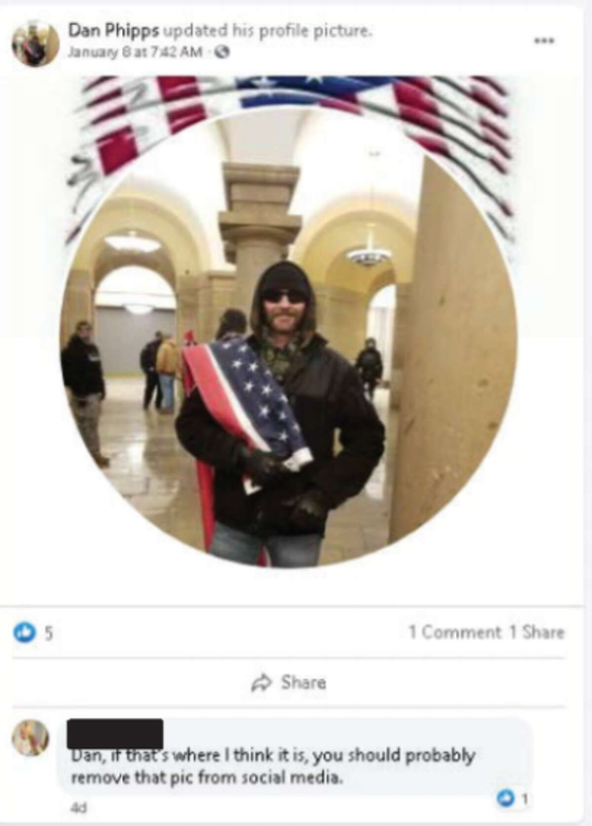 Daniel Phipps, a Dallas-area man, was arrested after posting to Facebook photos of himself in the Capitol.