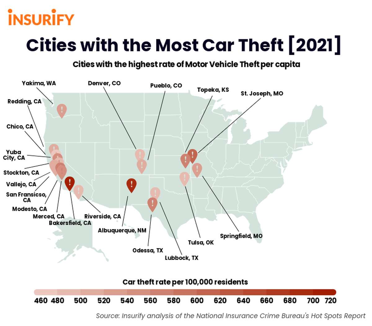 """Odessa is ranked among the """"car theft capitals of the United States,"""" according to the insurance website insurify.com."""