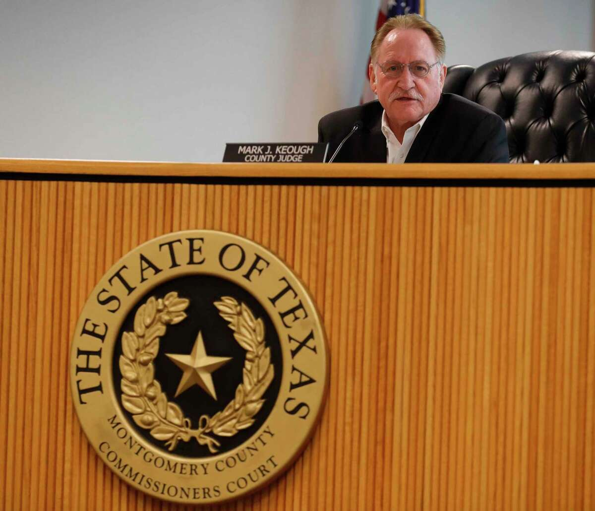 Montgomery County Judge Mark Keough is seen during a Montgomery County Commissioners Court meeting at the Alan B. Sadler Commissioners Court building on Jan. 12, 2021, in Conroe.