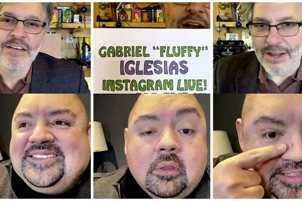 "Geoff Edgers (top) and Gabriel ""Fluffy"" Iglesias on Jan. 8. in Edgers' weekly Instagram Live show ""Stuck with Geoff."""
