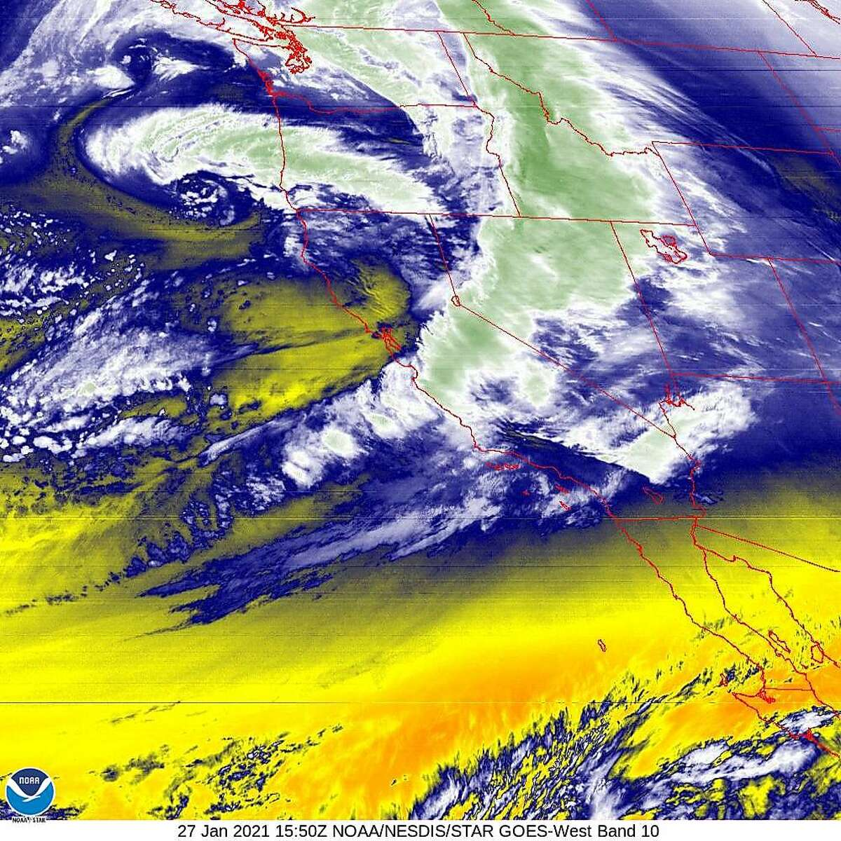 A satellite image of the winter storm as it swept out of the Bay Area on Wednesday morning.