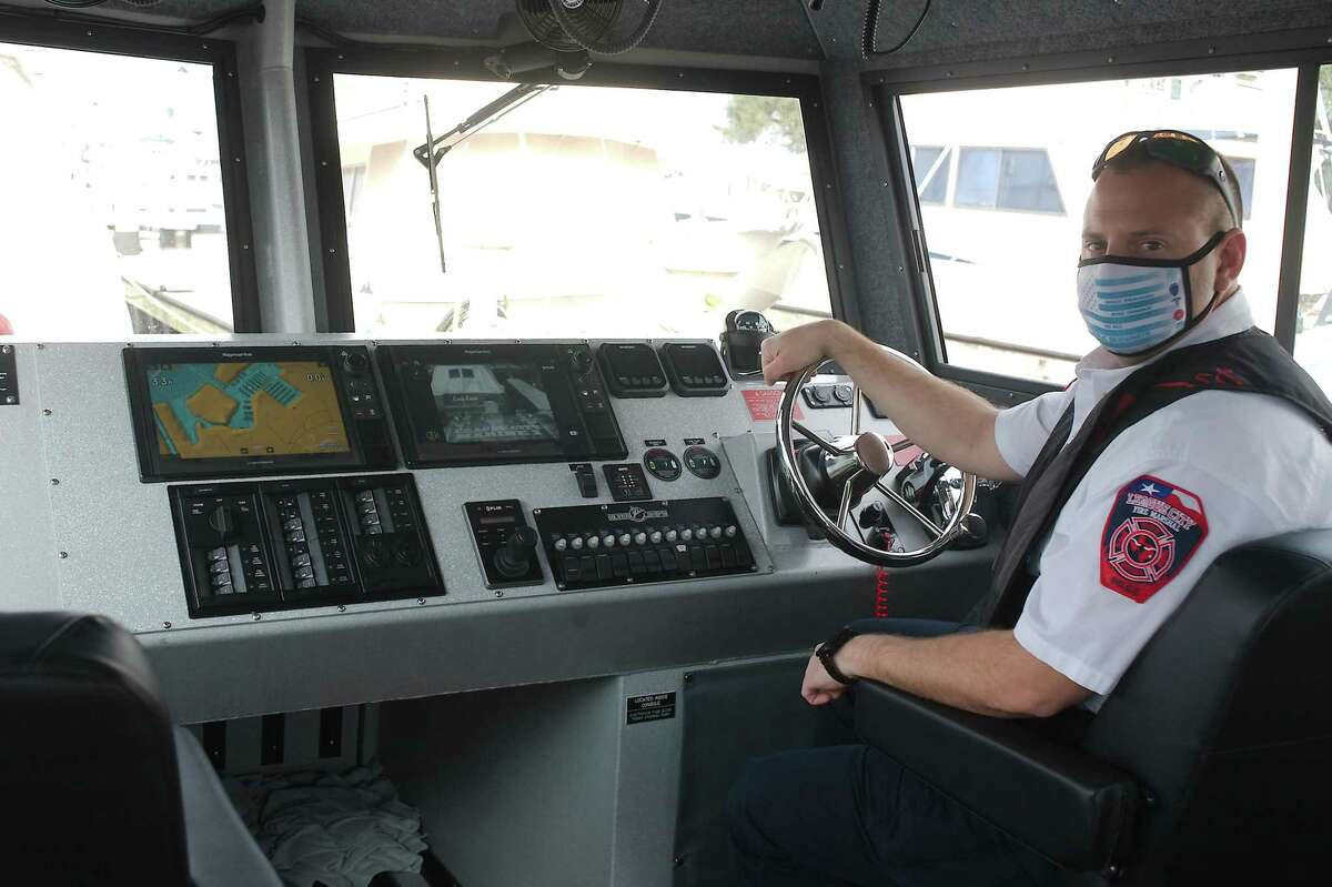Allen shows instrument displays on the boat that assist with such functions as radar, navigation, underwater detection and heat-signature detection.