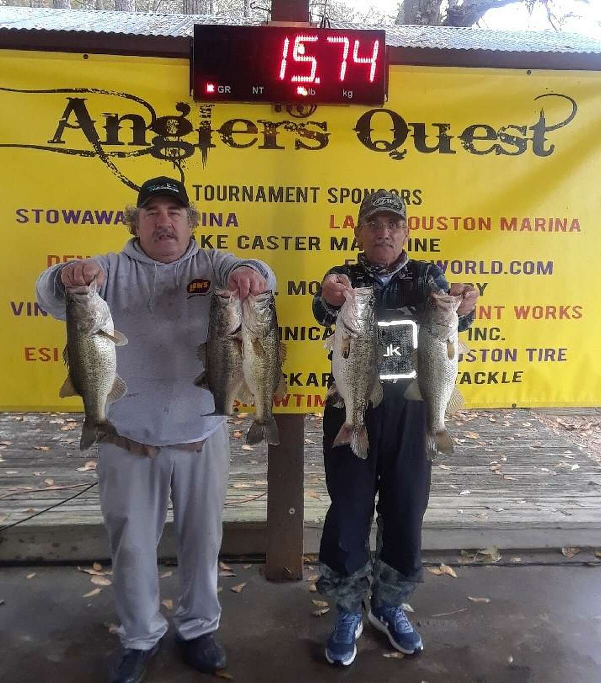 Jerry Watson and Mike Watson came in fourth place in the Anglers Quest Team Tournament #1 with a total weight of 15.74 pounds.