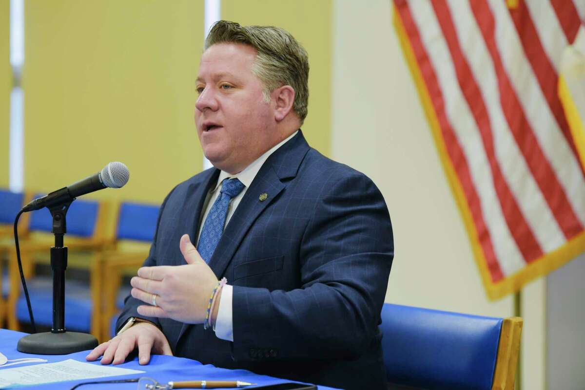 Albany County Executive Dan McCoy speaks at a press conference held to discuss Covid-19 related issues on Wednesday, Jan. 27, 2021, in Albany, N.Y. (Paul Buckowski/Times Union)