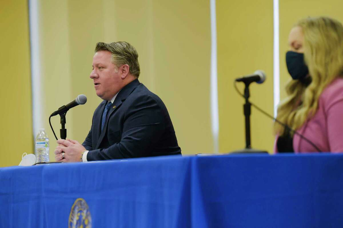 Albany County Executive Dan McCoy, left, and Albany County Department of Health Commissioner Dr. Elizabeth Whalen take part in a press conference to discuss Covid-19 related issues on Wednesday, Jan. 27, 2021, in Albany, N.Y. (Paul Buckowski/Times Union)
