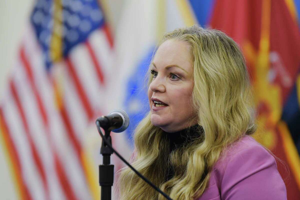 Albany County Department of Health Commissioner Dr. Elizabeth Whalen speaks at a press conference held to discuss Covid-19 related issues on Wednesday, Jan. 27, 2021, in Albany, N.Y. (Paul Buckowski/Times Union)