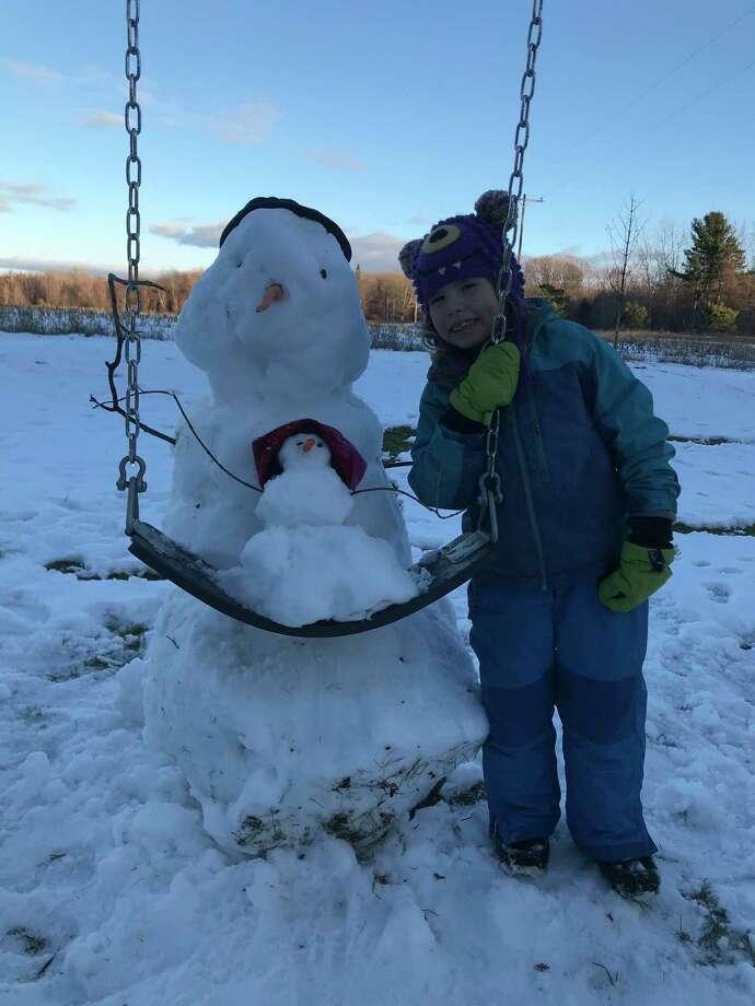 Sophia Bates won a sundae basket for her snowman pushing snowbabyas part ofFrankfort-Elberta Area Schools Snowman Challenge. (Courtesy Photo)