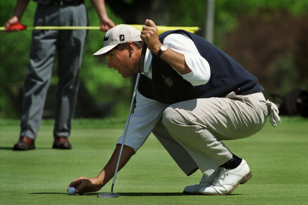 Ron Philo Jr. lines up a putt at the 2000 U.S. Open local qualifier at Normanside. Philo is the last Capital Region player to have qualifier for the Open, having done so in 1999. (Paul Buckowski/Times Union)