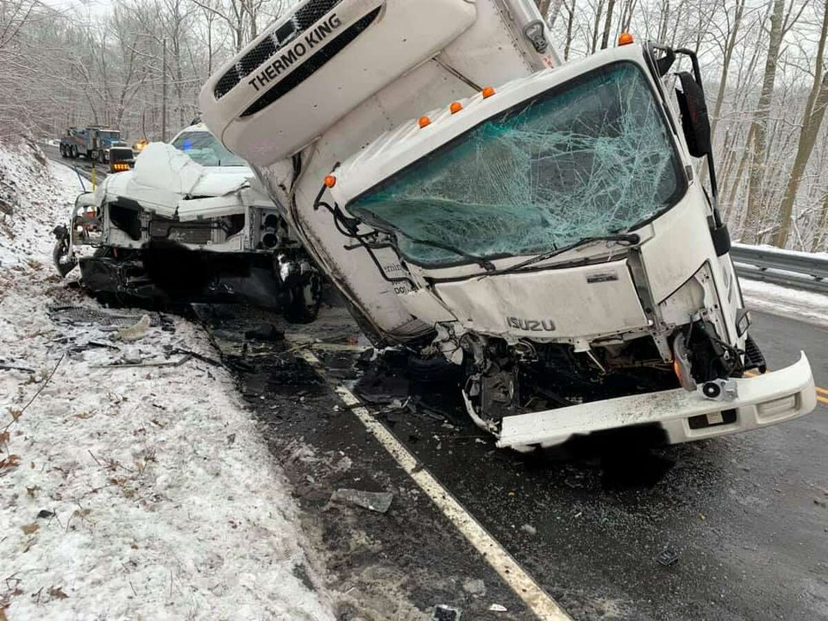 The aftermath of a crash on Route 82 in Montville, Conn., on Wednesday, Jan. 27, 2021.