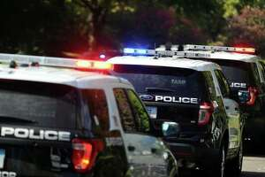 A file photo of Stamford, Conn., police cruisers.