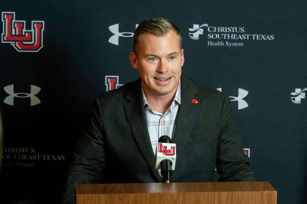 Lamar head football coach Blane Morgan talks about his first signing class at a signing day press conference on February 5, 2020. Fran Ruchalski/The Enterprise