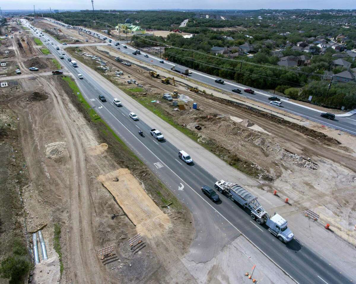 Construction along U.S. 281 between Wilderness Oak and Marshall Road is seen Monday.