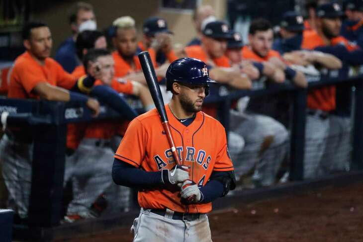 George Springer, on deck in Game 7 of the ALCS against Tampa Bay last season in his final game as an Astro, is hoping to be the veteran addition that Toronto needs to reach the World Series.