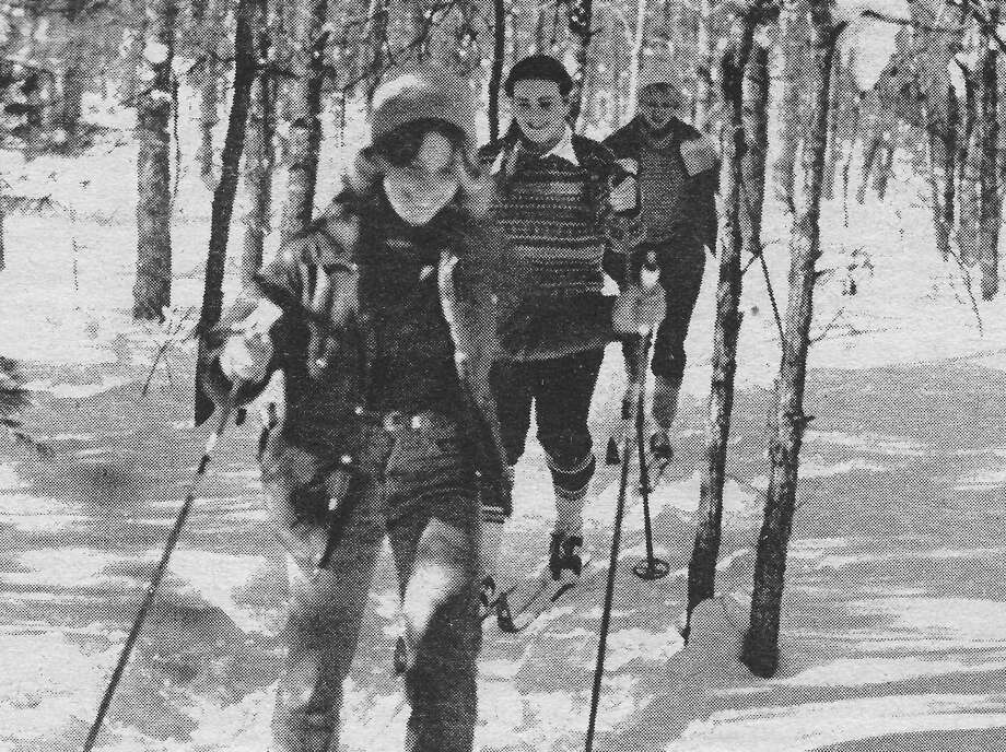 Skiers could be seen out for a Sunday ski in late January 1981 near the Manistee River weir. (Manistee County Historical Museum photo)