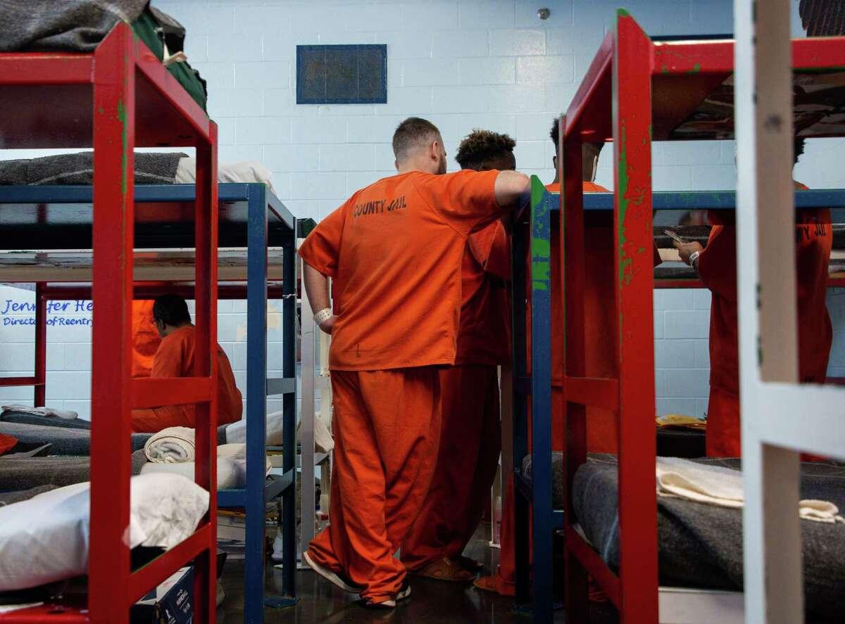 Inmates inside the Harris County Jail on Thursday, Jan. 14, 2021, in Houston.