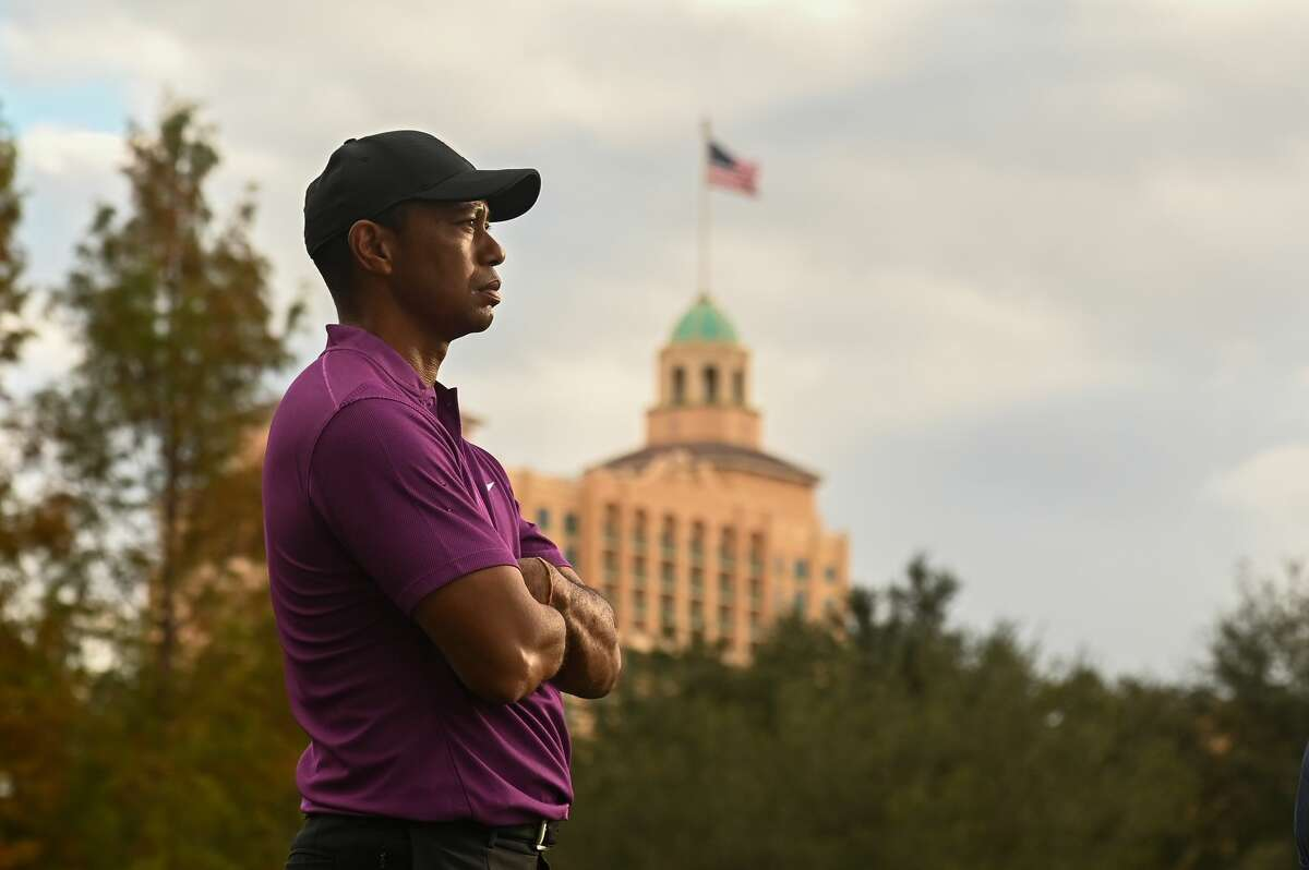 Tiger Woods stands on the 17th tee box during the first round of the PGA TOUR Champions on Dec. 19, 2020.