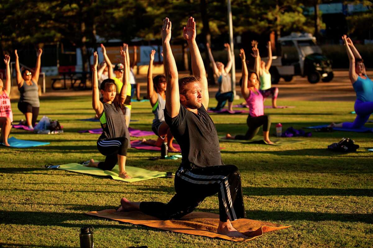 Yoga at Discovery Green.