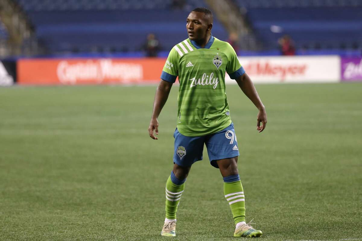 SEATTLE, WASHINGTON - NOVEMBER 08: Jimmy Medranda #94 of Seattle Sounders looks on in the second half against the San Jose Earthquakes at CenturyLink Field on November 08, 2020 in Seattle, Washington. (Photo by Abbie Parr/Getty Images)