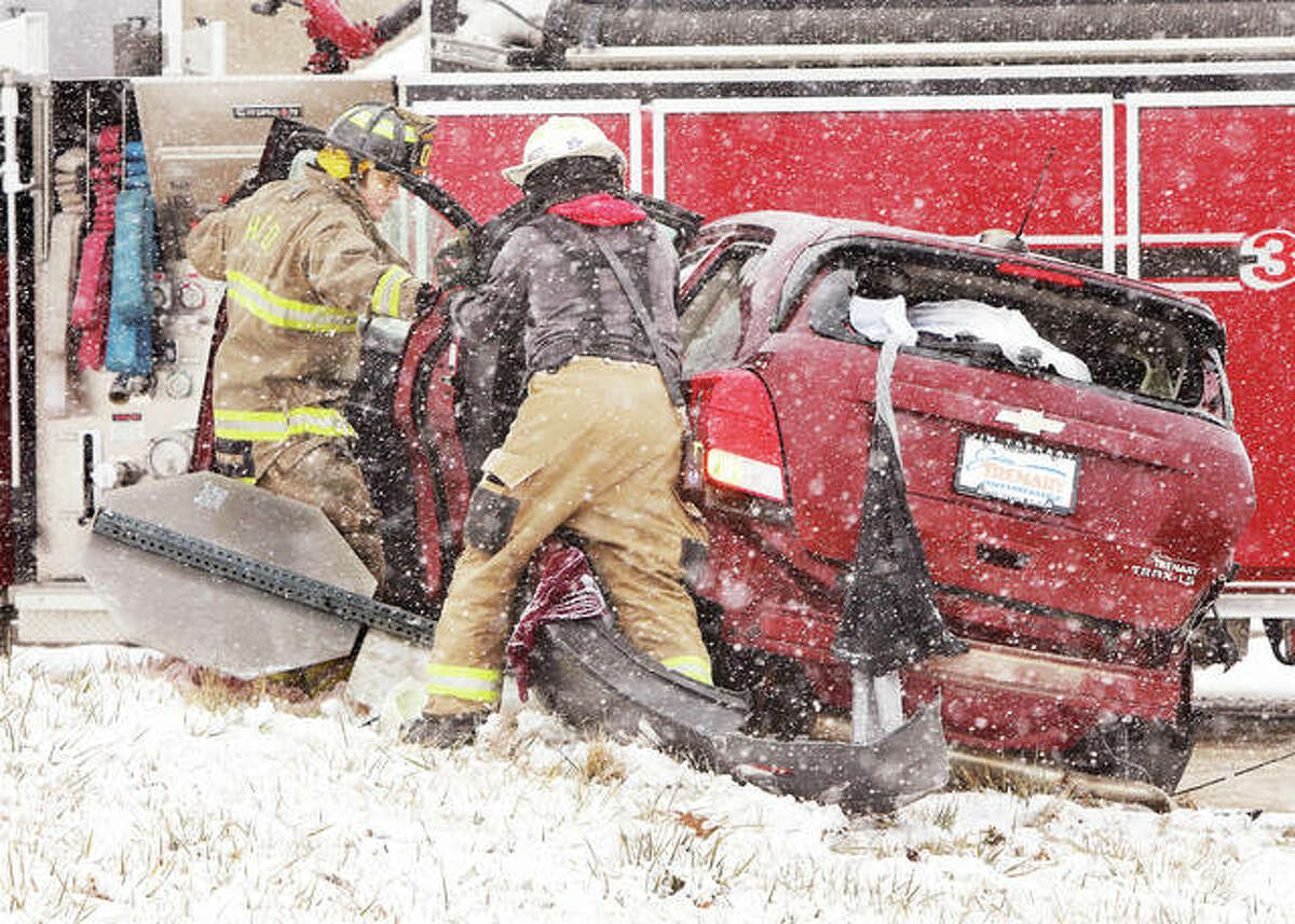 The first snowfall of 2021 brought its share of problems to motorists Wednesday. Hartford and Roxana firefighters responed to a crash between a semi-truck and a Chevy Trax that sent at least one person to the hospital at the intersection of Illinois 3 and Rand Avenue in Hartford. Agencies across the area reported many accidents without injuries, including one on Illinois 255 near Illinois 111. None of the injuries were considered serious in nature. Additional photos are online at thetelegraph.com.