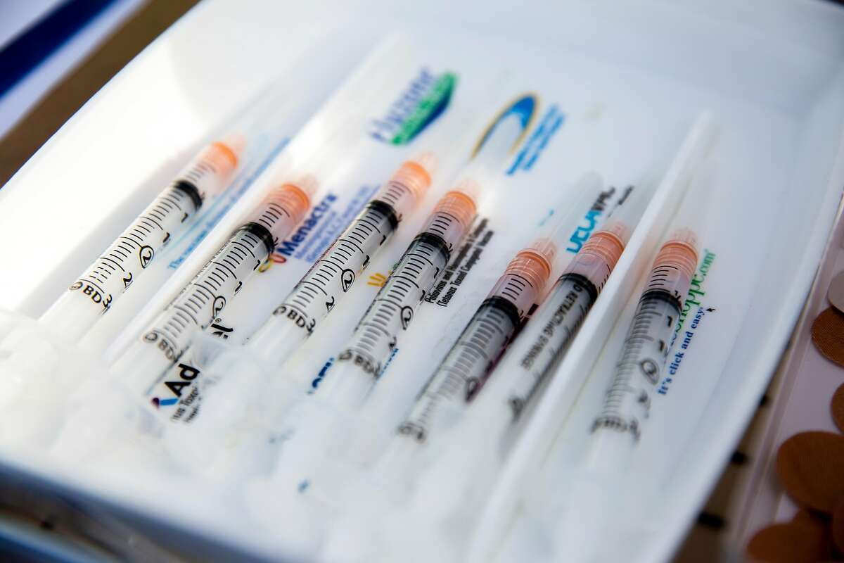 Supplies of the Moderna vaccine are shown at a Fremont clinic. Vaccinations are inching up across the Bay Area.