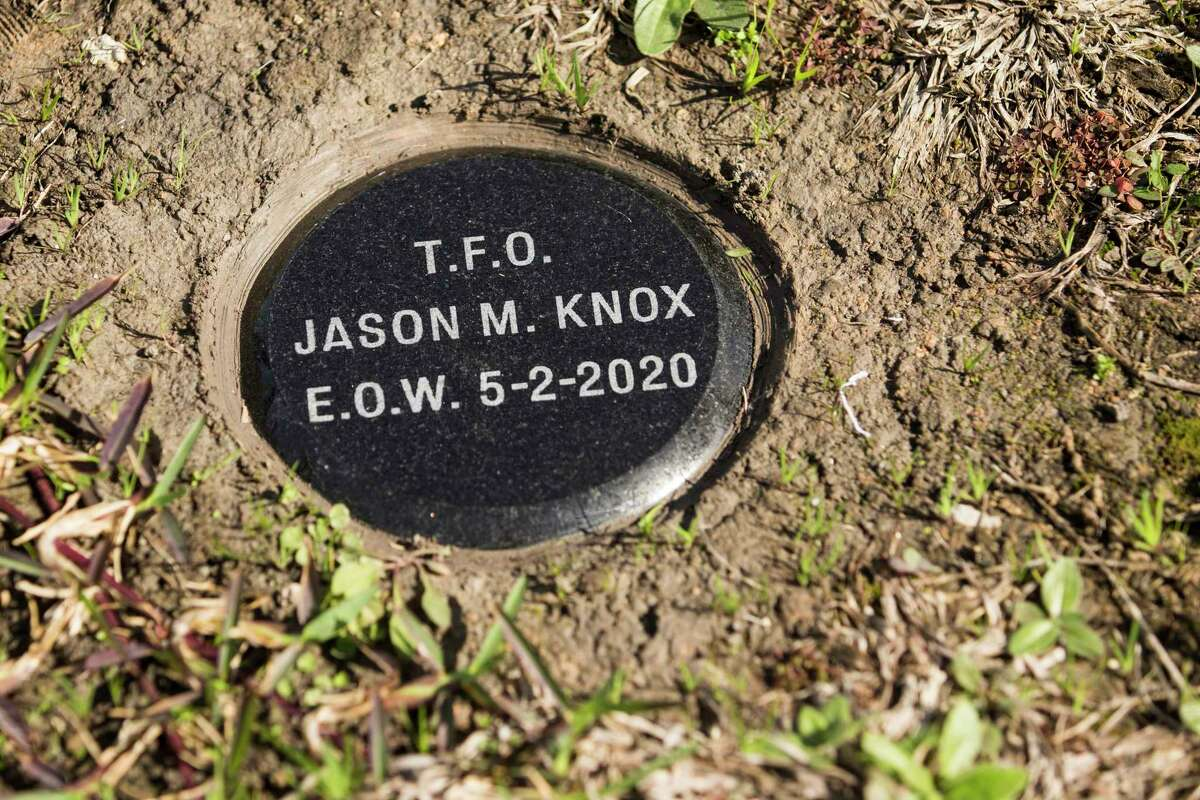 The some of the ashes of fallen Houst5on Police Officer/Tactical Flight Officer Jason Knox are buried next to HPD's flight operations helipad Wednesday, Jan. 27, 2021 in Houston. Knox was honored by HPD as they dedicated the department's newest helicopter in his name. The H125 Airbus incorporates Officer Knox's badge number of 2374 into its registration number, which is N2374F. The fuselage also features a vintage HPD blue stripe as a nod to Knox's passion for the department's history. Knox was killed in the line of duty on May 2, 2020, when the HPD helicopter he was in crashed while on a call-for-service.
