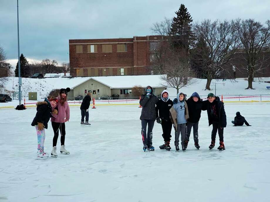 Local youth skate at theSands Park ice rink in Manistee. The rink opened to skaters on Jan. 26. (Courtesy photo/Sheila Kaminski)