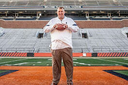 University of Illinois head football coach Bret Bielema, shown after being hired in December, has assembled his first Illini coaching staff.