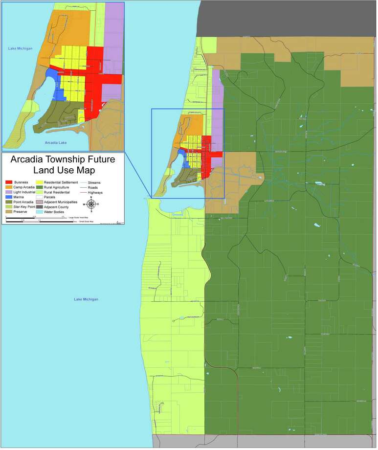 This map shows zoning districts which align with the current master plan in Arcadia. (Courtesy Map)