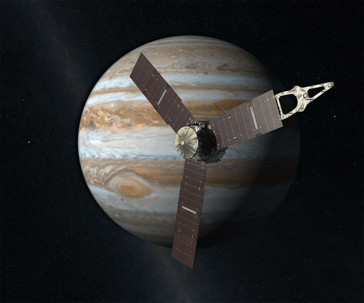 Launched from Earth in 2011, the Juno spacecraft arrived at Jupiter in 2016 to study the giant planet from an elliptical, polar orbit. Juno will repeatedly dive between the planet and its intense belts of charged particle radiation, coming only 5,000 kilometers (about 3,000 miles) from the cloud tops at closest approach.