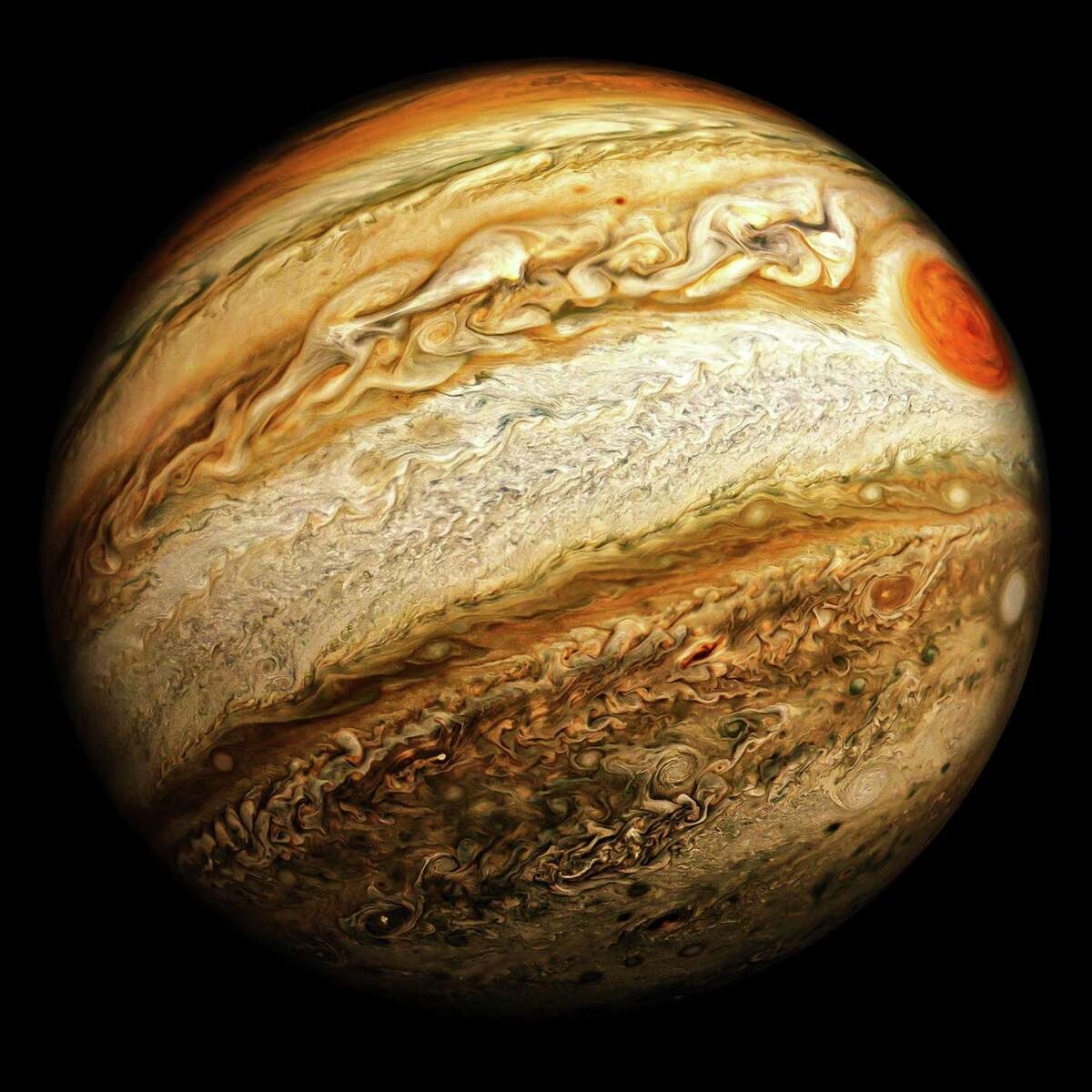 NASA has extended the Juno mission, led by Scott Bolton of Southwest Research Institute, to explore Jupiter through September 2025, expanding the science goals to include the overall Jovian system, made up of the planet and its rings and moons. Juno includes a public outreach instrument that allows citizen scientists to participate in the mission, processing JunoCam data to create images such as this highly enhanced