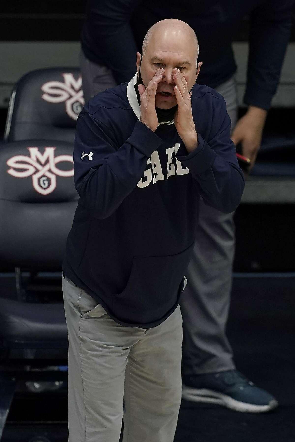 Saint Mary's head coach Randy Bennett against Gonzaga during an NCAA college basketball game in Moraga, Calif., Saturday, Jan. 16, 2021. (AP Photo/Jeff Chiu)
