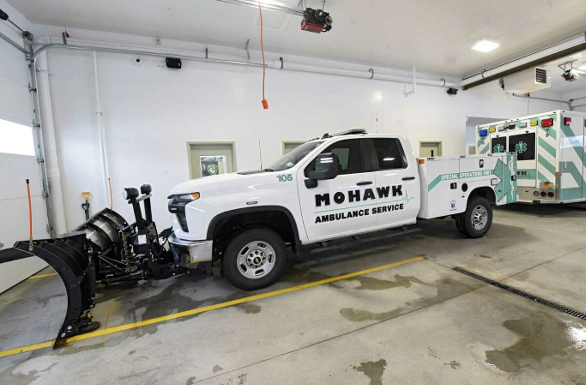 Truck which will pull the new mobile vaccine distribution vehicle at Mohawk Ambulance on Wednesday, Jan. 27, 2021 in Brunswick, N.Y. The mobile vaccine vehicle will enable Mohawk Ambulance to establish pop-up vaccination locally. (Lori Van Buren/Times Union)