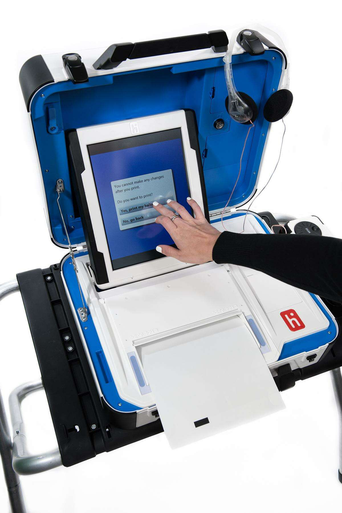 The new Hart InterCivic Verity Voting system allows uses to make selections via touch screen rather than having to scroll through the choices with the rotary wheel on the eSlate machines the county has been using since 2002. The new machines will produce a paper ballot that can be audited later.