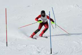 Brayden Sorenson navigates the slalom course on Jan. 25. (News Advocate file photo)