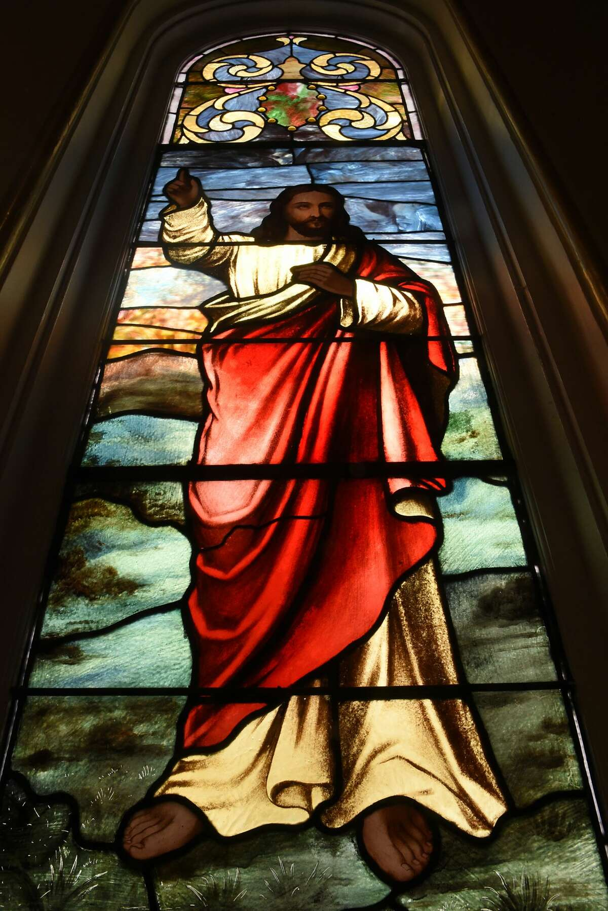 Stained glass window panel depicting Jesus at Gilead Lutheran Church on Wednesday, March 4, 2020 in Troy, N.Y. (Lori Van Buren/Times Union)
